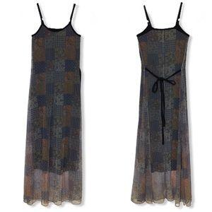 Vintage Mesh Overlay 90's Maxi Dress Size XS